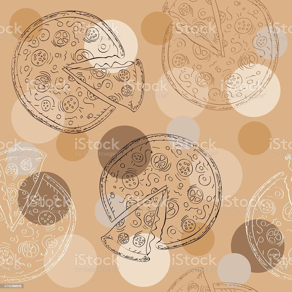 Doodle style pizza  seamless vector background vector art illustration