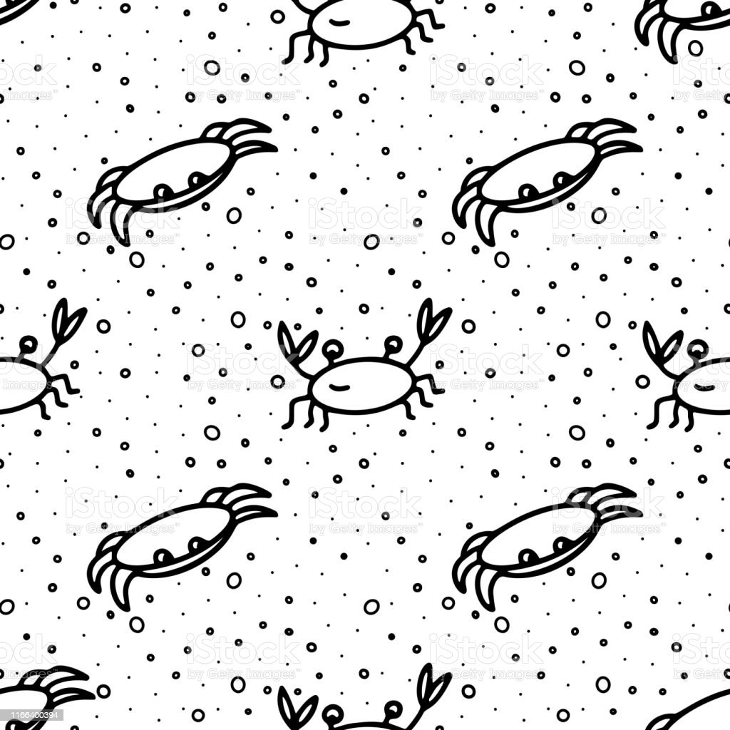 Hand drawn doodle style seamless pattern with black crabs and water...