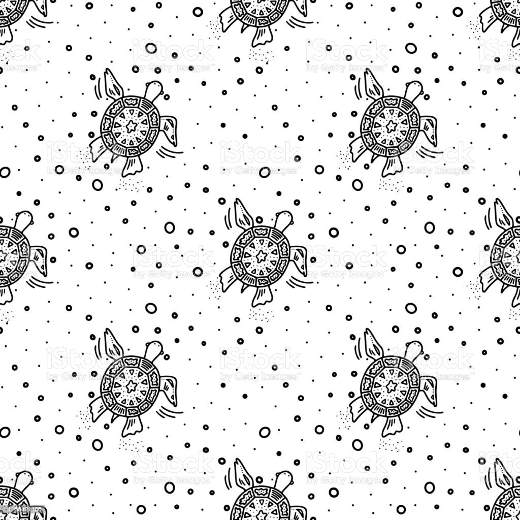 Hand drawn doodle style seamless pattern with black turtle and water...