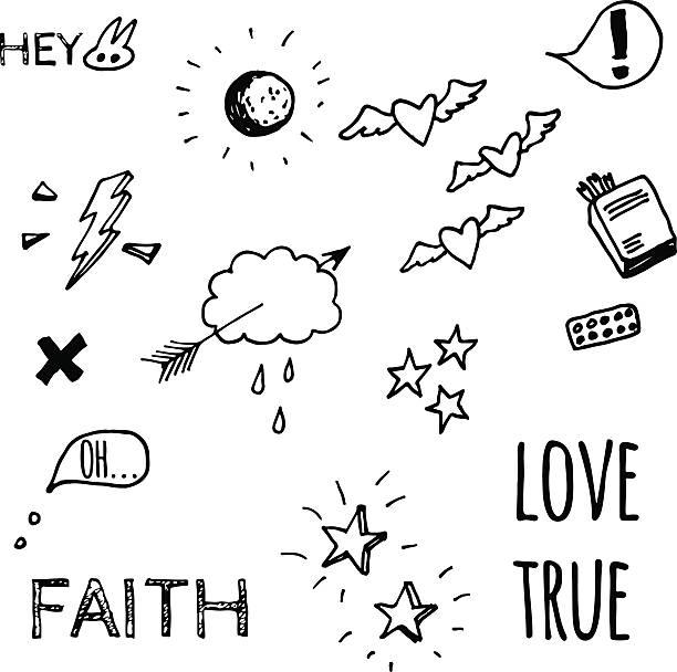 doodle style sketches on love theme - 不完整 幅插畫檔、美工圖案、卡通及圖標