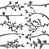 Doodle Style Tree Branch Silhouette Vectors