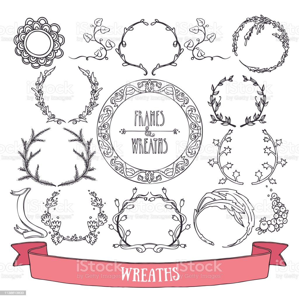 Doodle Style Vector Floral Wreaths And Round Frames Clipart Hand