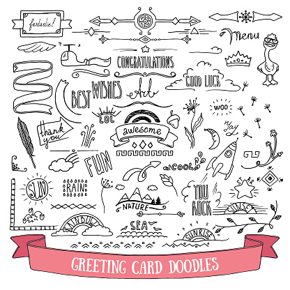 Doodle style vector illustration clipart isolated on white background. Hand drawn elements for greetings card, festive flyer, poster, banner, invitation design templates.