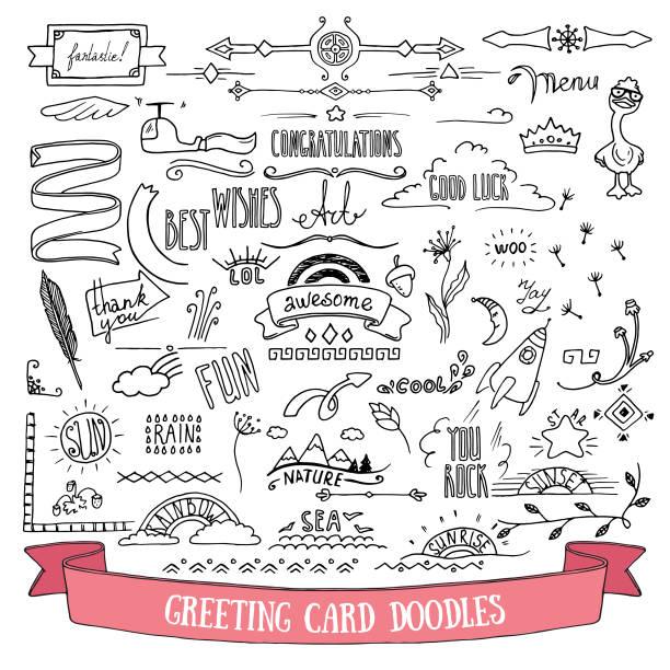 ilustraciones, imágenes clip art, dibujos animados e iconos de stock de doodle estilo vector ilustración clipart aislado sobre fondo blanco. elementos dibujados a mano para tarjeta de felicitación, volante festivo, póster, banner, plantillas de diseño de invitaciones. - marcos de certificados y premios