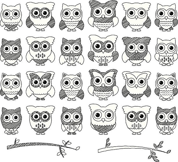 doodle style vector set of cute owls and branches - black and white owl stock illustrations, clip art, cartoons, & icons