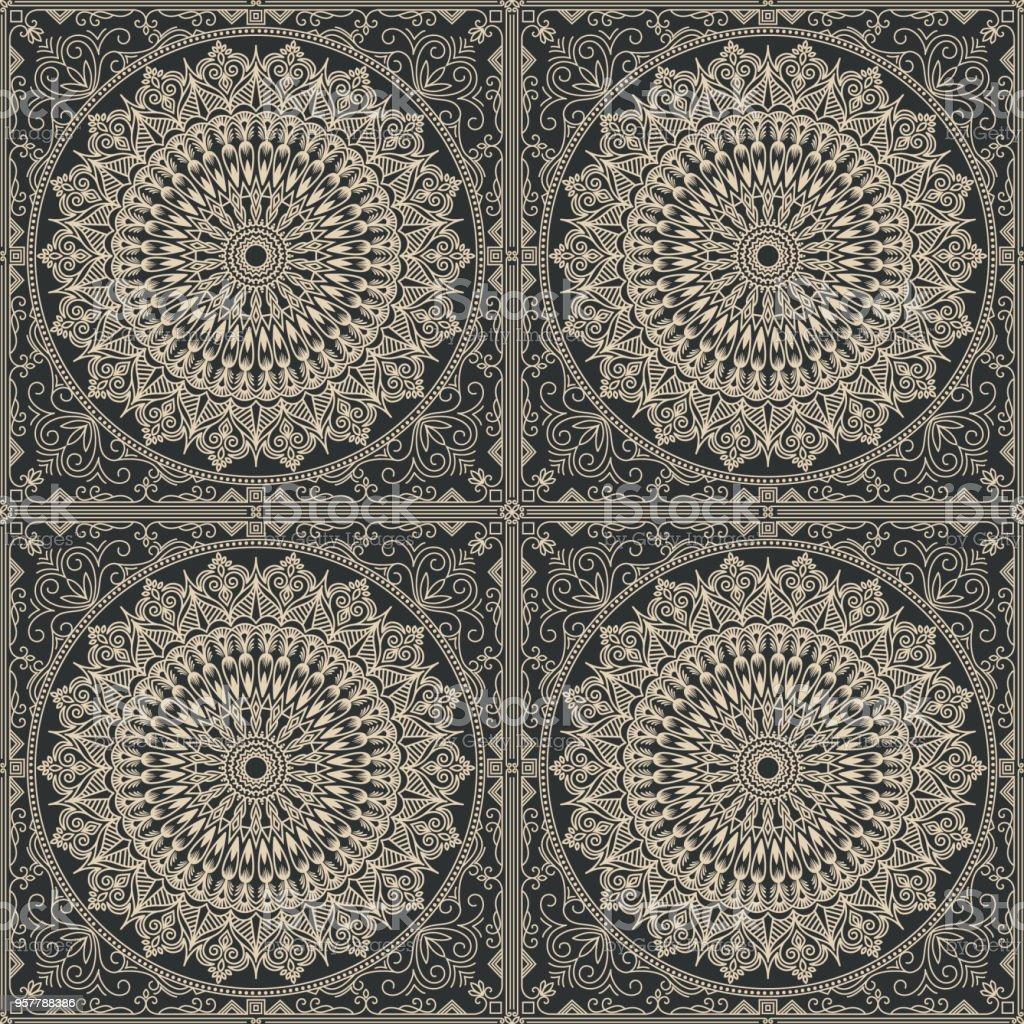 Zentangle Geometrik Susleme Desen Arka Plan Tarz Sark Geleneksel
