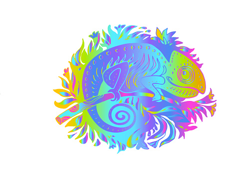 Doodle Stylized Rainbow Colors Chameleon in rainforest Isolated on White Background.
