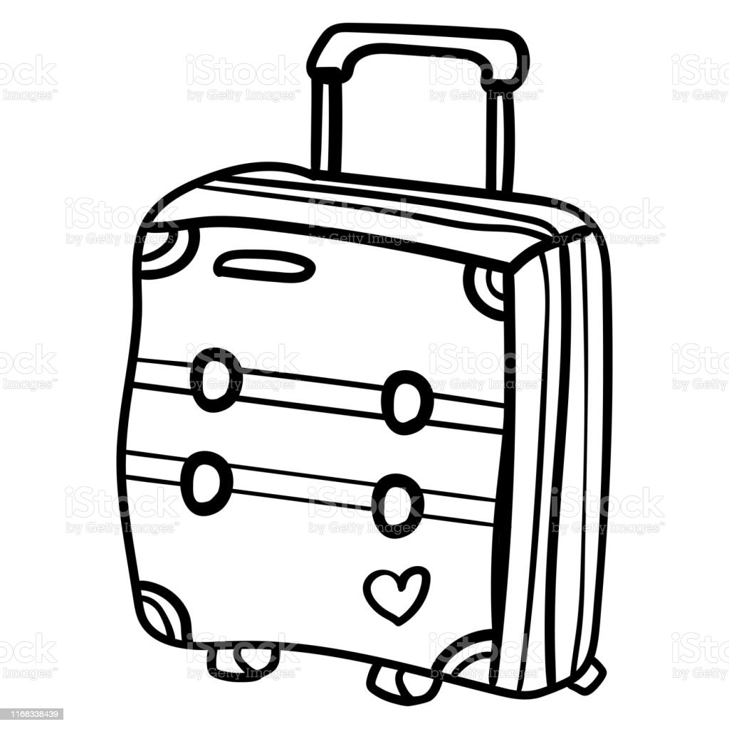 Doodle Suitcase For Travelling Around The World Coloring Page Or