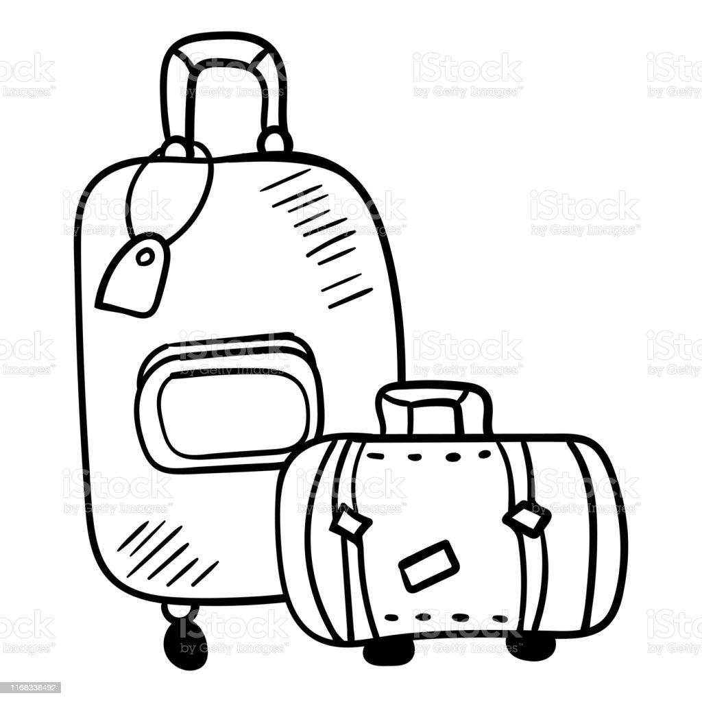 Doodle Bavul Dunya Capinda Seyahat Icin Boyama Sayfasi Veya Kitap