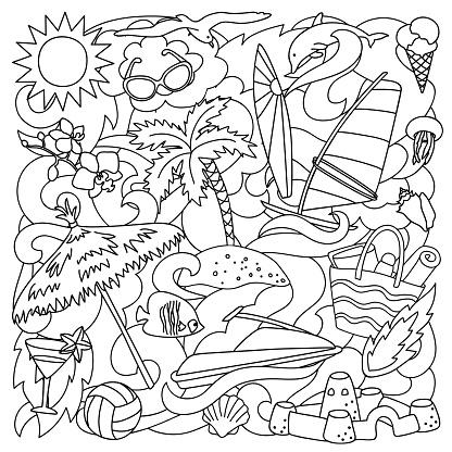 Doodle Summer Beach