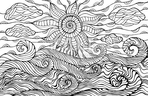 istock Verano mar y cielo con nubes y pájaros. Vector dibujado a ...
