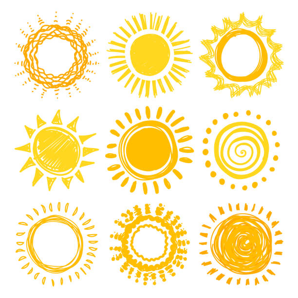 Doodle sun collection Doodle sun collection for summer design. Vector illustration clip art stock illustrations
