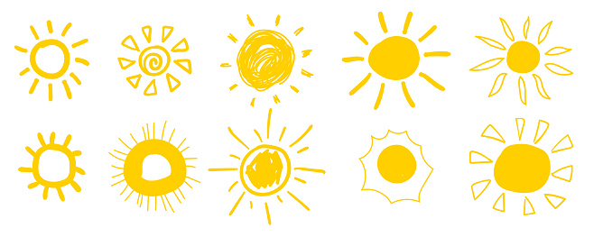 Doodle sun icons. Hot weather suns collection isolated on white.  Summer doodles with sunlight, sketch drawings, hand drawn sunshine objects. Vector illustration.