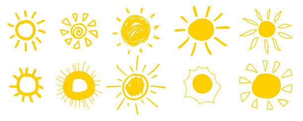 bildbanksillustrationer, clip art samt tecknat material och ikoner med doodle sol ikoner. varmt väder solar samling isolerade på vitt.  sommar doodles med solljus, skiss ritningar, handritade solsken objekt. vektorillustration. - sun