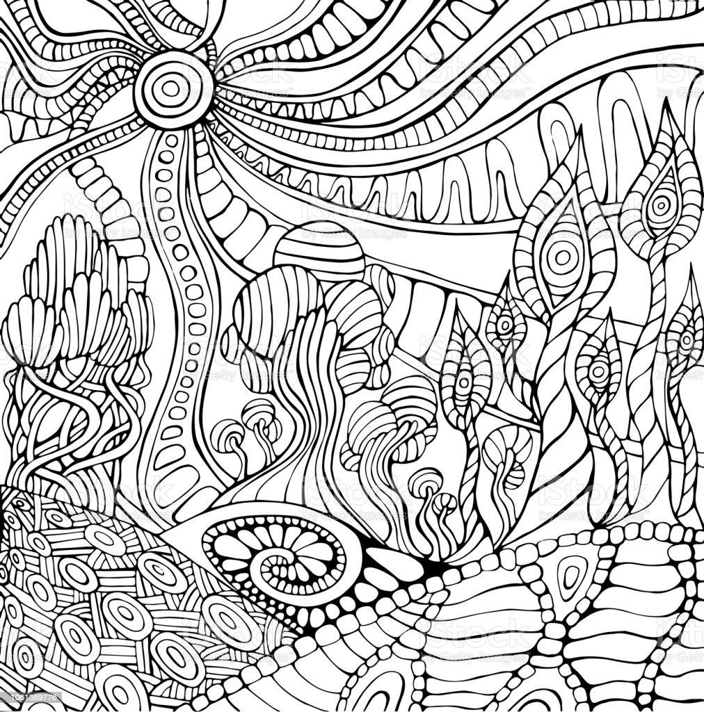 Doodle Surreale Landschaft Malvorlagen Für Erwachsene