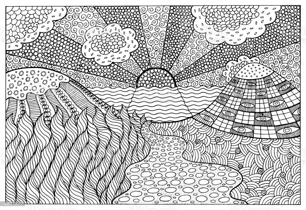 Gercekustu Manzara Yetiskinler Icin Sayfa Boyama Doodle Fantastik