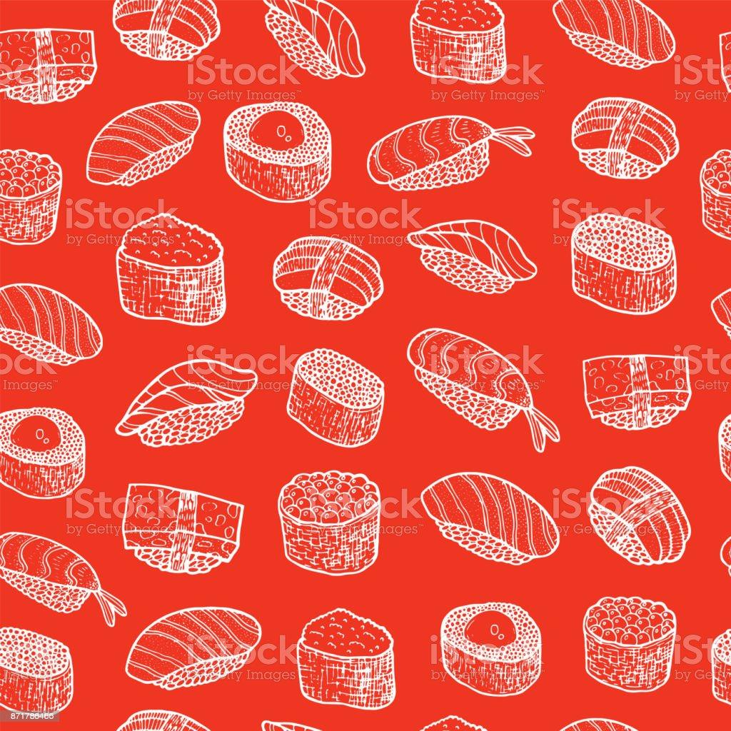 寿司・食品のシームレスなパターンを落書き。ベクトル図 ベクターアートイラスト