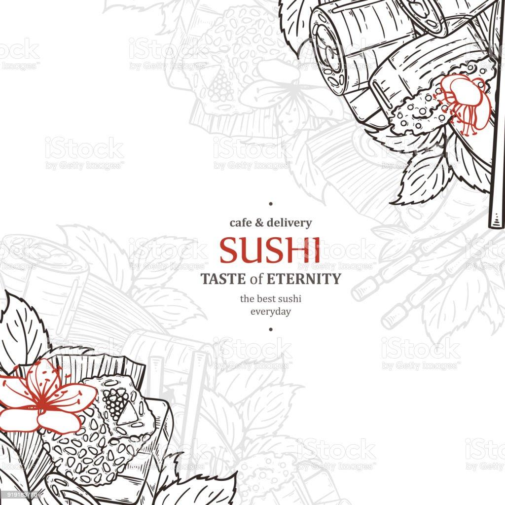 doodle sushi restaurant menu design template engrave asian food