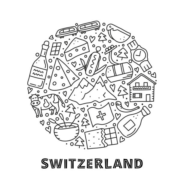 doodle schweiz reise-icons im kreis. - raclette stock-grafiken, -clipart, -cartoons und -symbole