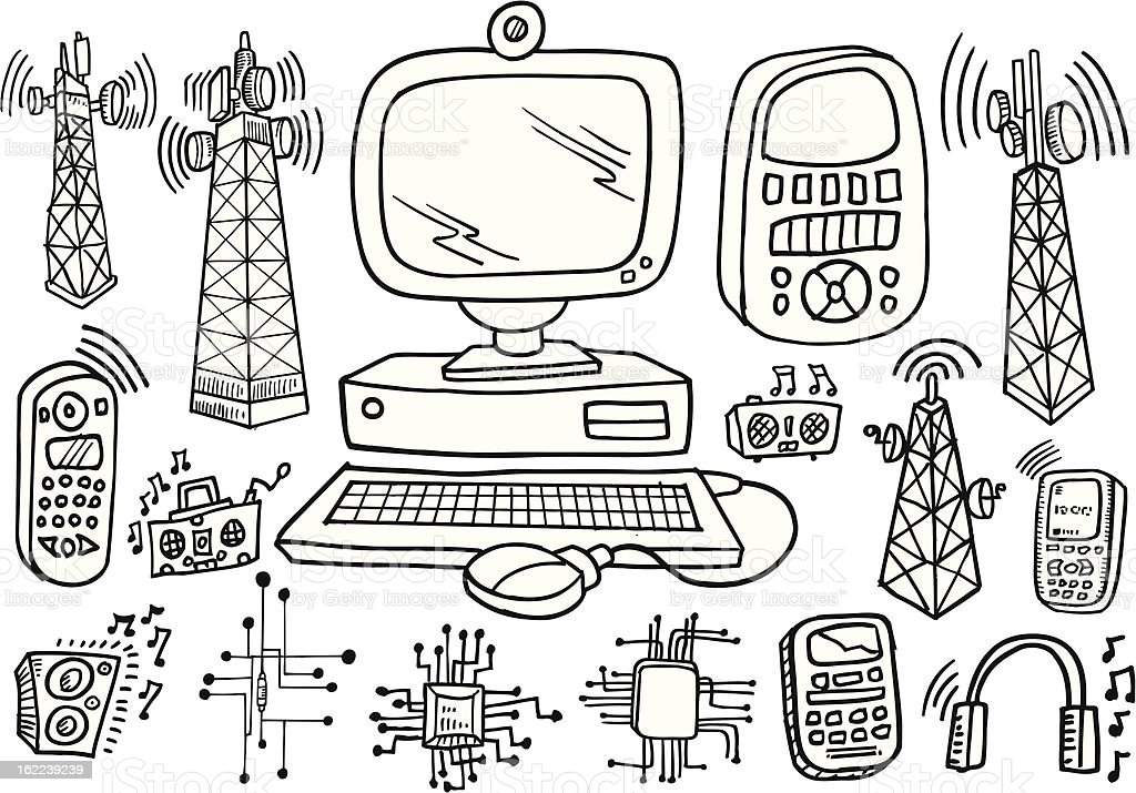 doodle technology and electronics set stock vector art