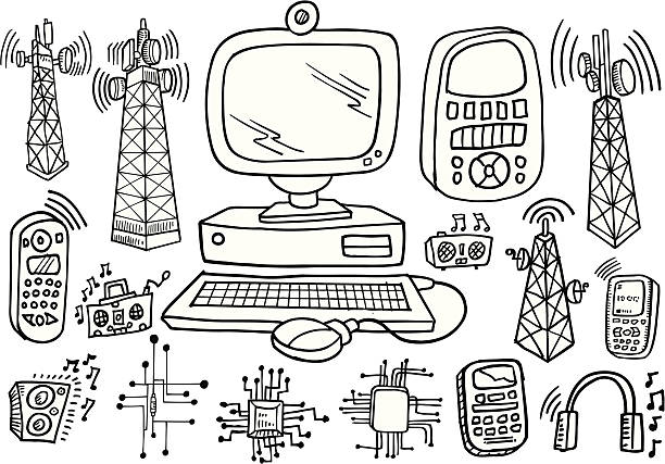 Doodle Technology and electronics Set vector art illustration
