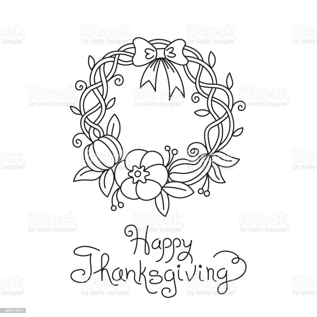 Doodle Thanksgiving Wreath Freehand Vector Drawing Isolated vector art illustration