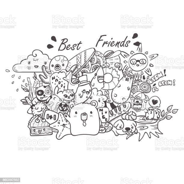 Doodle the cute bear with friends hand drawn vector illustration for vector id860392552?b=1&k=6&m=860392552&s=612x612&h=rnfwsj3pbb6haonoukr5b5rfb0oettewcplevtvqhka=