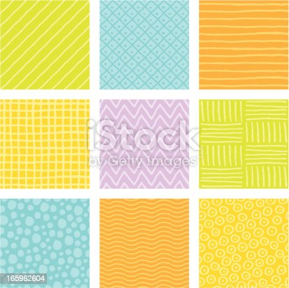 Seamless, hand-drawn background pattern tiles. Colors easily editable.