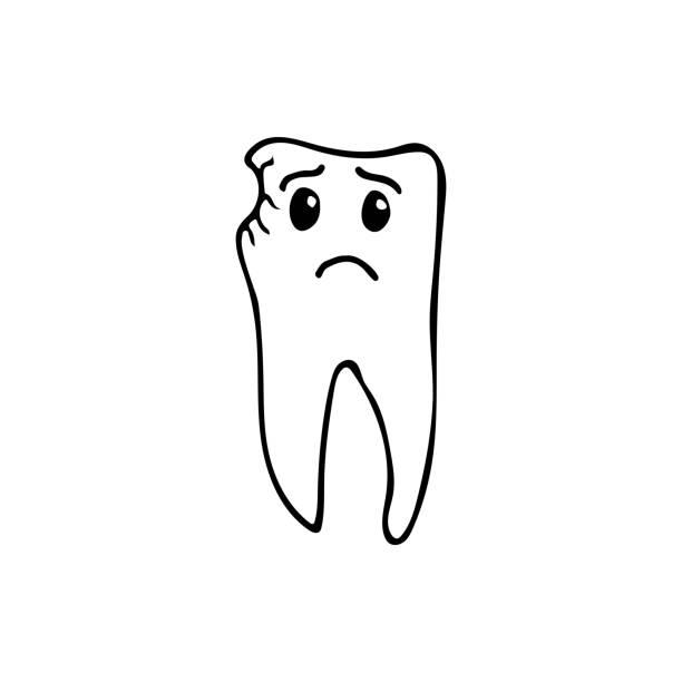 stockillustraties, clipart, cartoons en iconen met doodle tand met caries. hand getrokken tand met caries. ongelukkig tandpictogram met caries. pictogram doodle stomatologie - streptococcus mutans