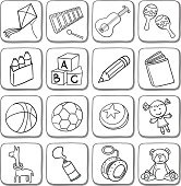 Doodle toy icon set in black and white