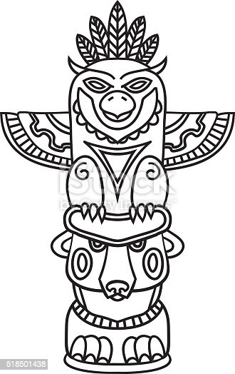 Doodle Traditional Tribal Totem Pole Isolated On White