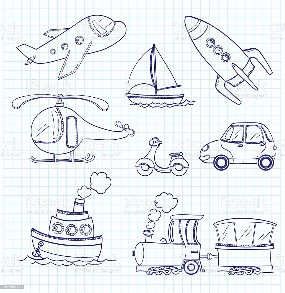 doodle transport royalty-free doodle transport stock vector art & more images of airplane