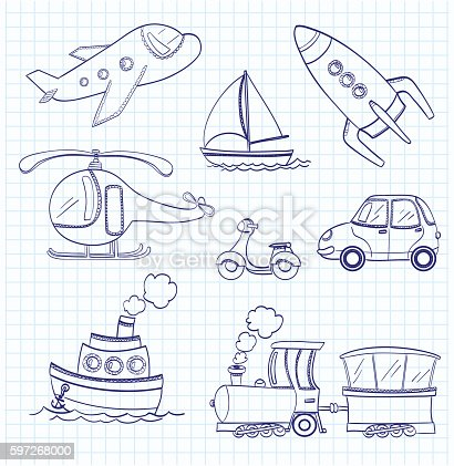 Doodle Transport Stock Vector Art & More Images of Airplane 597268000