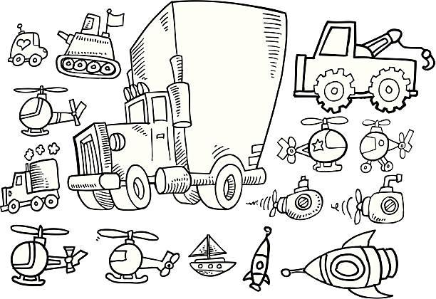 Doodle Transportation Set vector art illustration