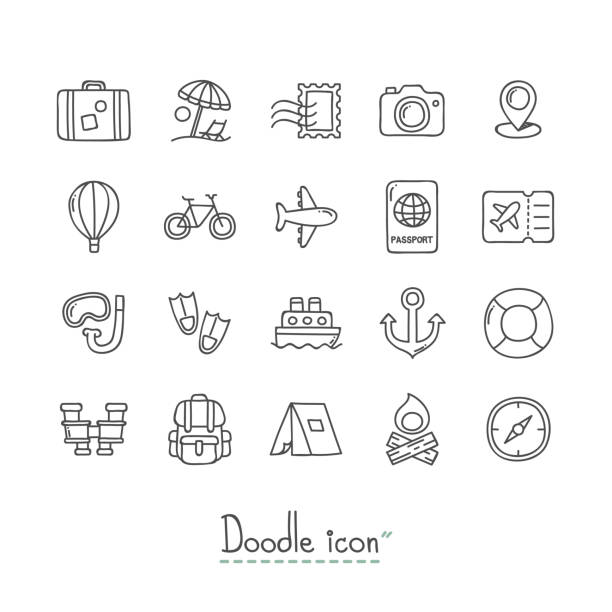 Doodle Travel Icons. Hand Drawn Doodle Icon Set. airport drawings stock illustrations