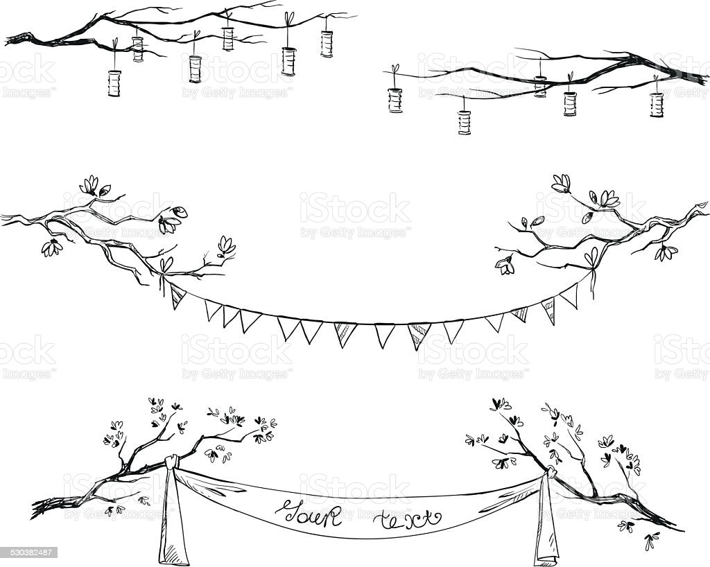 Doodle tree branches. Decorations. Vector illustration. vector art illustration