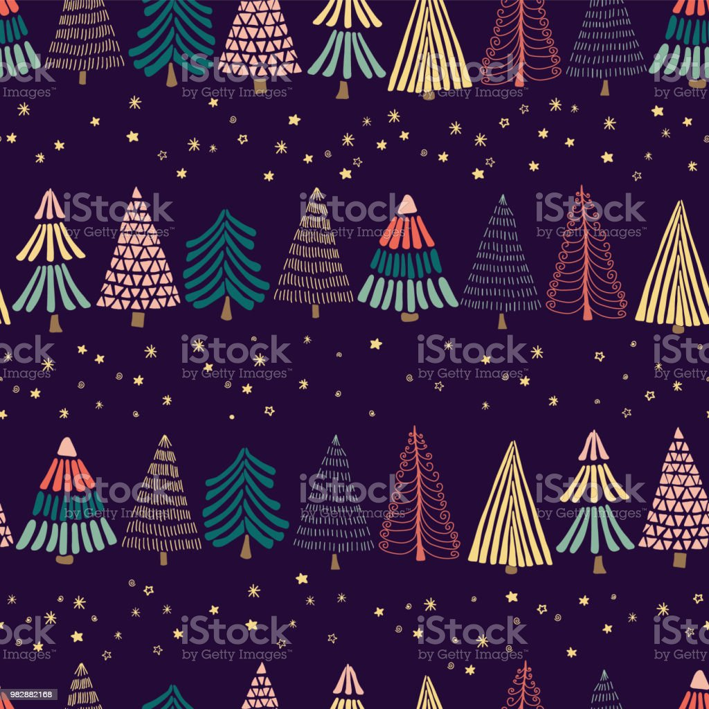 Doodle trees in a row and stars on a dark blue background. Seamless vector pattern. vector art illustration