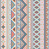 Seamless doodle tribal pattern in pastel color