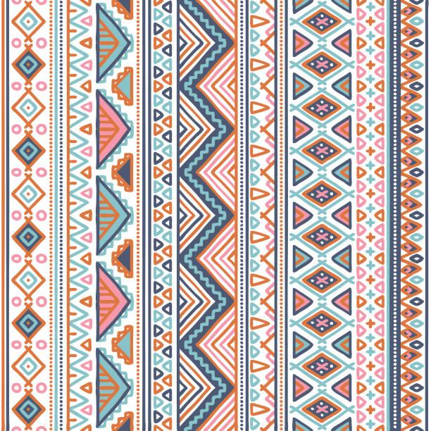 doodle tribal pattern in pastel color vector art illustration