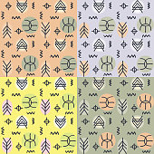4 seamless doodle tribal pattern set in pastel color.