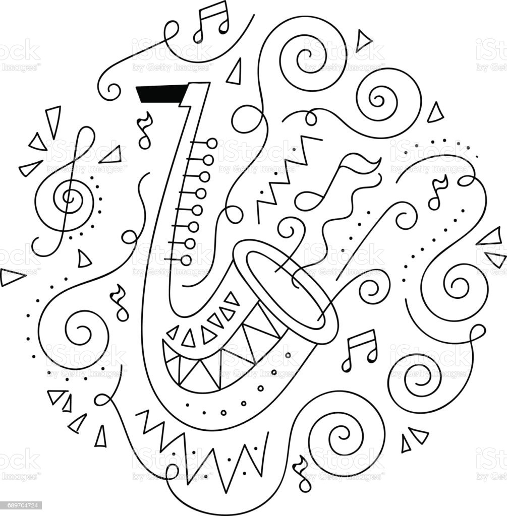 Doodle Trumpet Jazz Festival Coloring Page Royalty Free