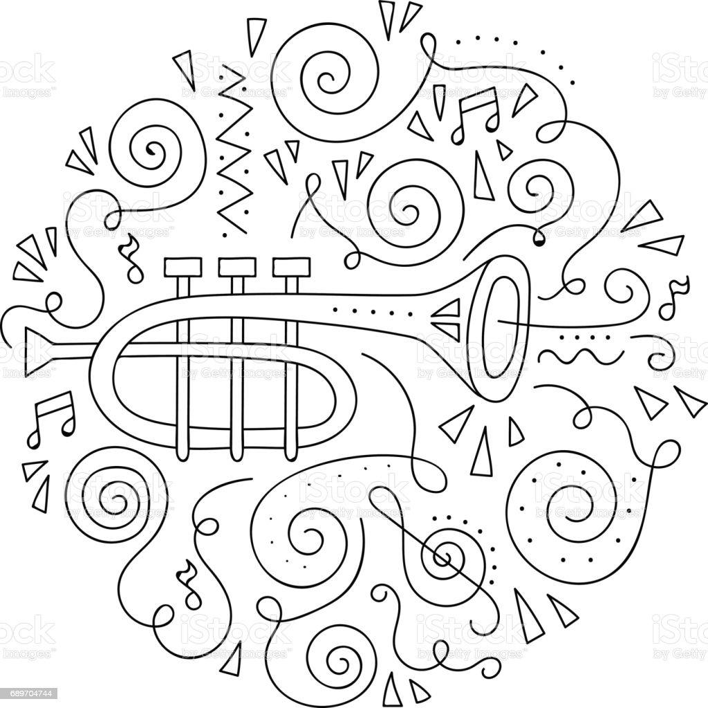 Doodle Trompet Caz Festivali Boyama Sayfası Stok Vektör Sanatı