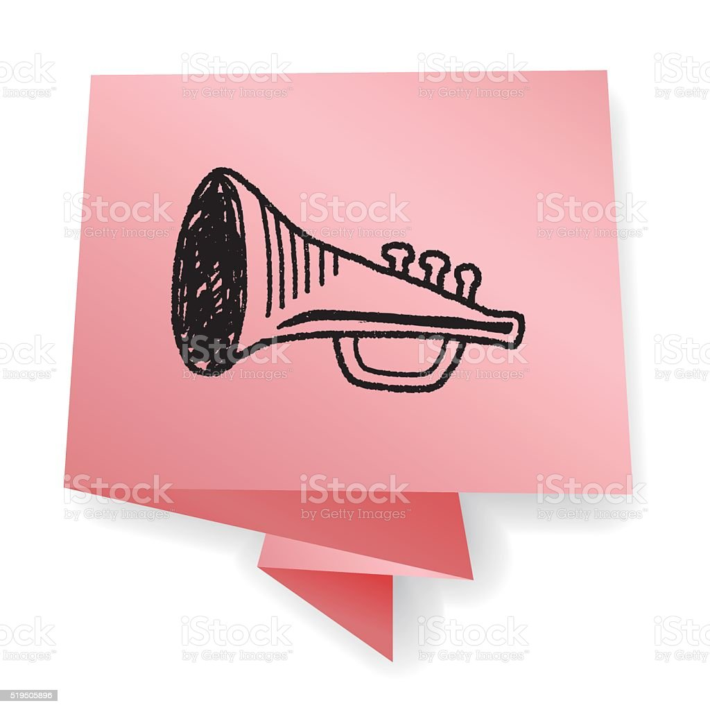 Doodle Trumpet vector art illustration