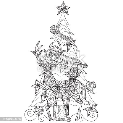istock doodle Two deer and Christmas tree s adult coloring page, Illustration  style. 1290830976