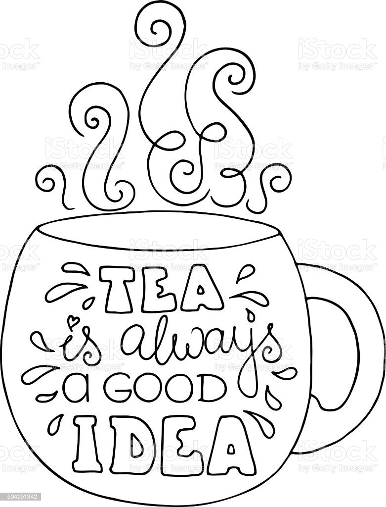 Ilustração De Rabisco Tipografia Cartaz Com Xícara De Chá E Mais