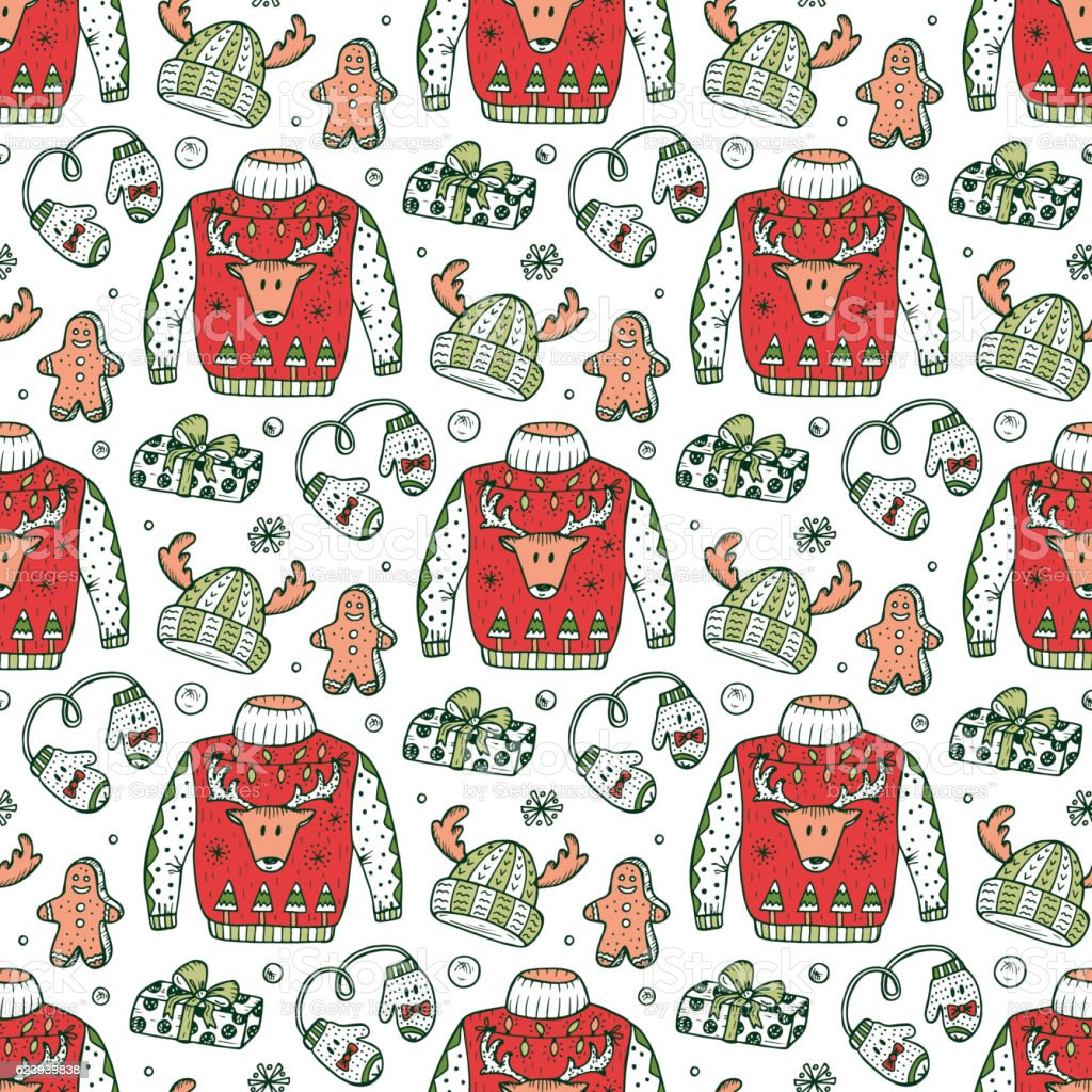 Doodle Ugly Christmas Sweater Party Vector Xmas Holiday Seamless ...