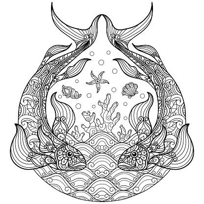 doodle Under sea fish tangles adult coloring page, Illustration tangle style.