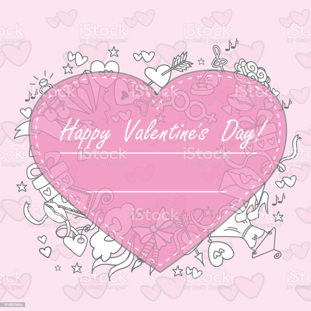 Doodle Valentines Day Greeting Card Stock Vector Art More Images