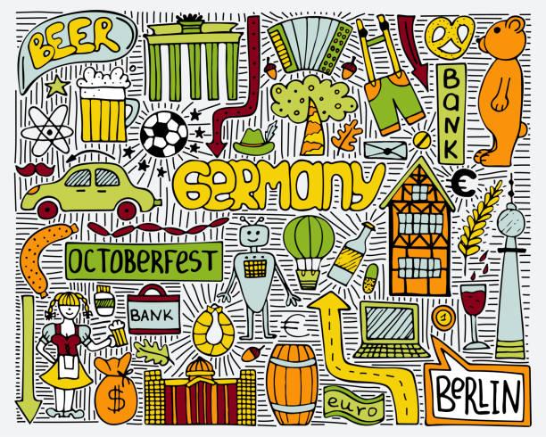 ilustrações de stock, clip art, desenhos animados e ícones de doodle vector color poster with germany symbols. wall art. - berlin wall