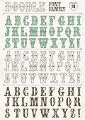 Doodle vector font family 10. Alphabet.